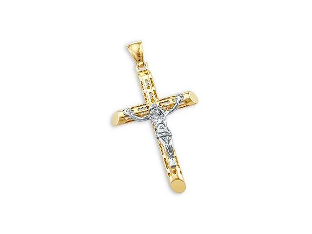 14k Yellow n White Two Tone Gold Cross Crucifix Pendant (Height = 1.5