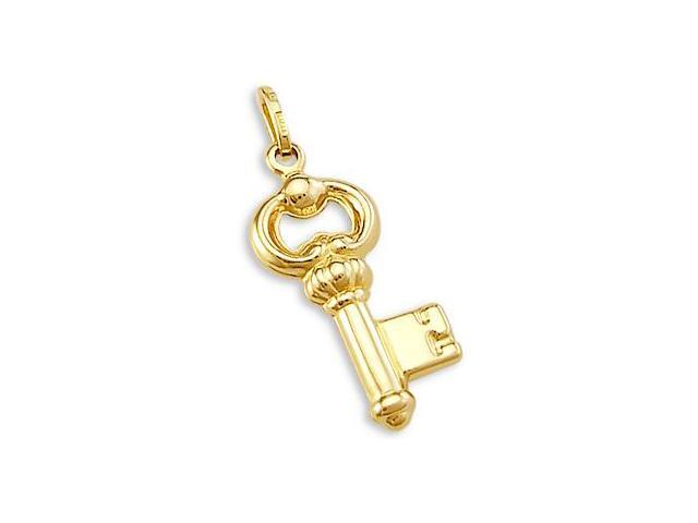 14k Yellow Gold Key Charm pendant Love New (Height = 1.25