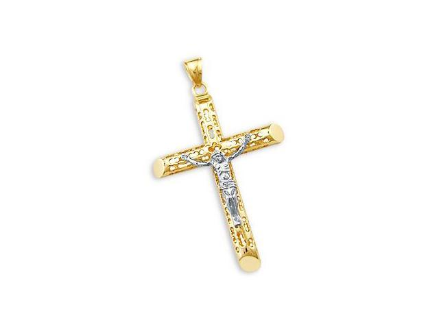 14k Yellow Two Tone Gold Big Cross Crucifix Pendant New (Height = 2.25