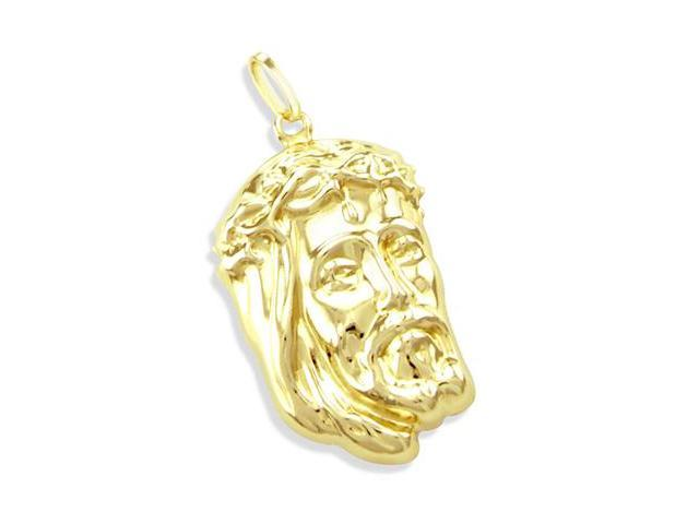 14K YELLOW GOLD DETAILED JESUS FACE CHARM PENDANT NEW (Height = 1.5