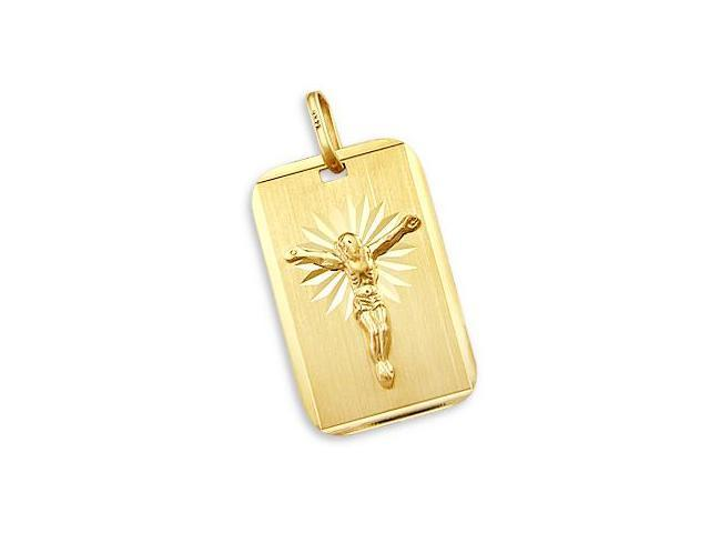 14k New Yellow Gold Cross Crucifix Plate Charm Pendant (Height = 1.5
