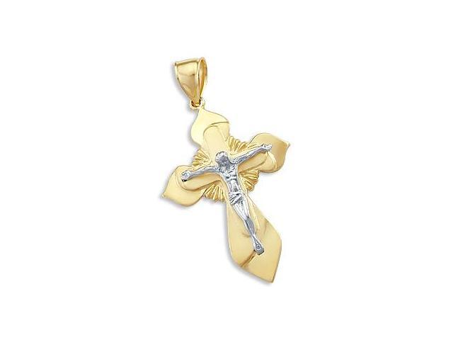 Heavy 14k Yellow and White Gold Cross Crucifix Pendant (Height = 1.75