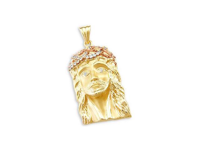 14k Yellow and Rose Gold Jesus Face Charm Pendant New (Height = 2