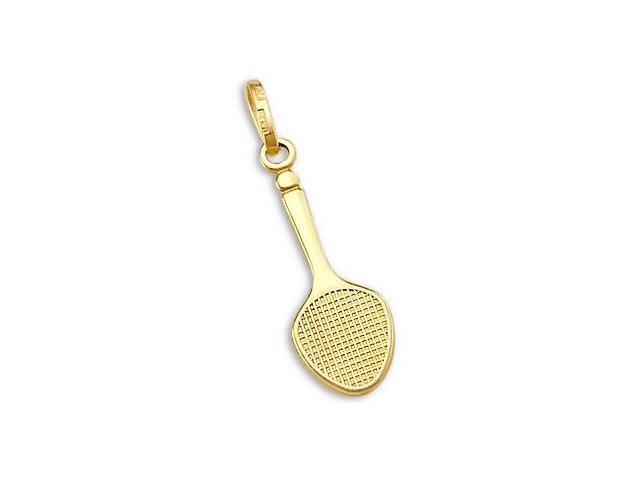 14k Yellow Gold Tennis ball Racket Charm Pendant (Height = 1
