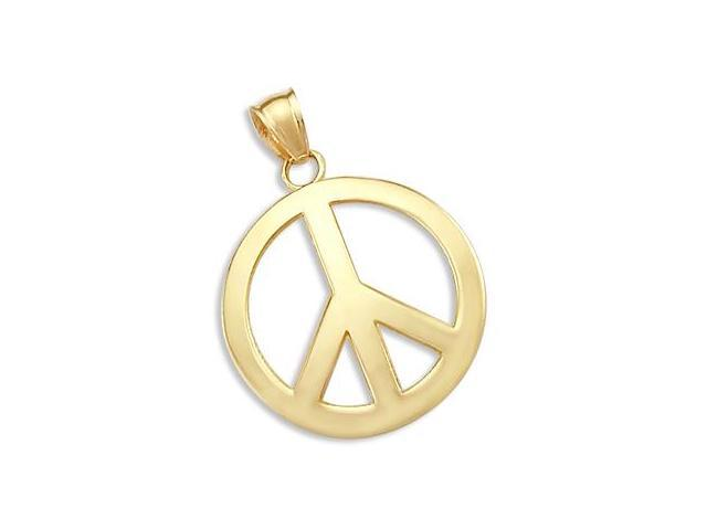 14k Yellow Gold PEACE Symbol Sign Charm Pendant New (Height = 1.25
