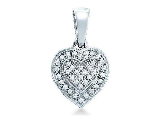 10k White Gold Heart Shape Pave Set Round Cut Diamond Pendant (1/10 cttw, H Color, I1 Clarity)