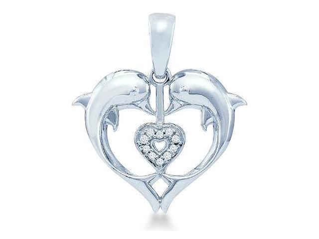 10k White Gold Heart Shape Love Dolphin Round Cut Diamond Pendant (.03 cttw, H Color, I1 Clarity)