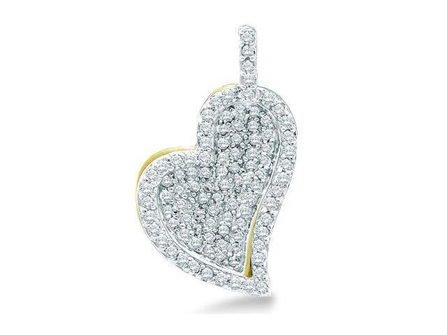 10k Yellow and White Two 2 Tone Gold Micro Pave Set Round Diamond Heart Shape Pendant - 14mm Width * 12mm Height (1/3 cttw, H Color, I1 Clarity)