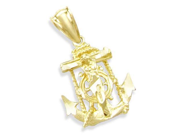 14K YELLOW GOLD ANCHOR w/ JESUS CRUCIFIX CHARM PENDANT (Height = 1