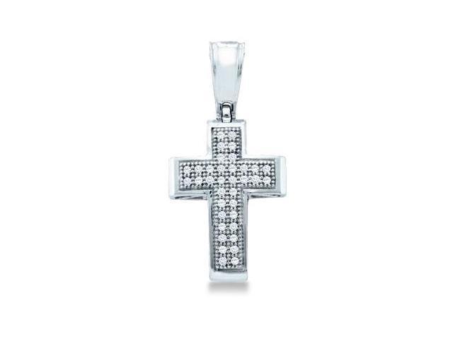 10k White Gold Round Cut Pave Set Diamond Cross Pendant (1/10 cttw, H Color, I1 Clarity)