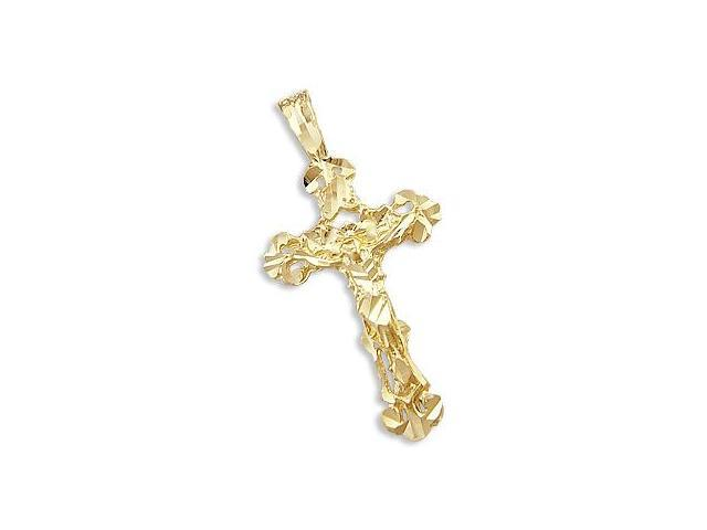 14k Yellow Gold Diamond Cut Cross Crucifix Pendant New (Height = 2