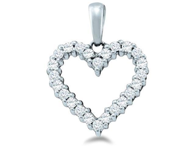 14k White Gold Round Cut Diamond Heart Shape Love Pendant - 13mm Width * 16mm Height (1/3 cttw, H Color, I1 Clarity)