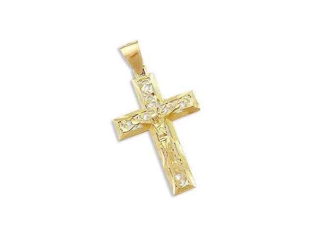 New Solid 14k Yellow Gold Cross Crucifix Charm Pendant (Height = 2
