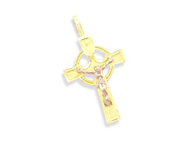 14k Yellow and Rose Gold Cross Crucifix Charm Pendant e (Height = 1