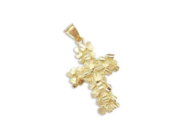 14k Yellow Gold Solid Nugget Cross Charm Pendant Heavy (Height = 1.75
