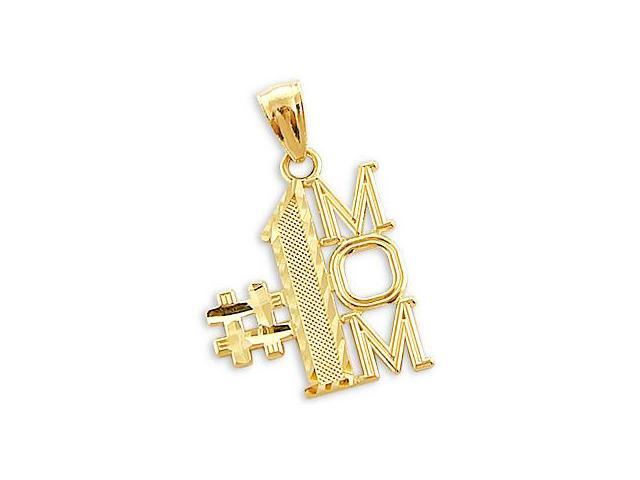 14k Yellow Gold # 1 Mom Mother's Day Charm Pendant (Height = 1