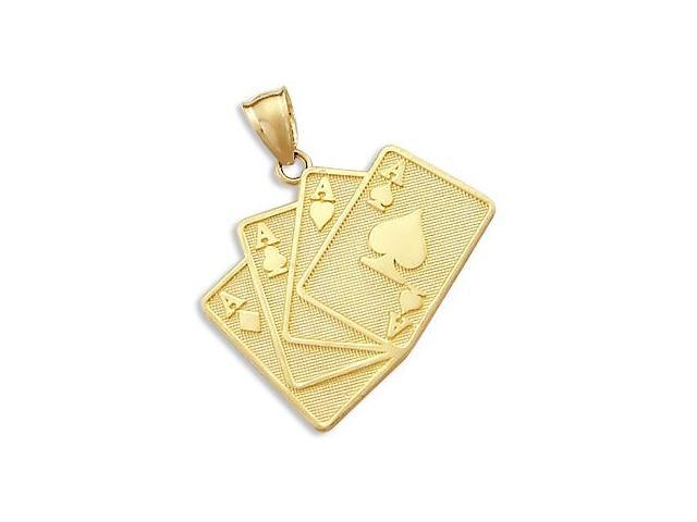 14k Yellow Gold Cards Poker 4 Four Aces Charm Pendant (Height = 1.25