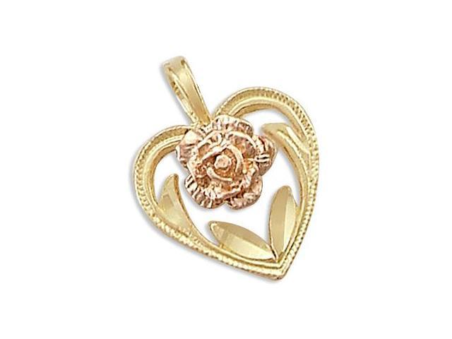 14k Yellow n Rose Gold Heart Flower Small Charm Pendant (Height = 1/2