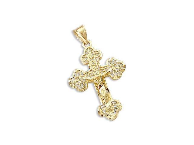 Solid New 14k Yellow Gold Cross Crucifix Charm Pendant (Height = 1.5