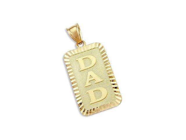 14k Yellow Gold DAD Father #1 Plate Charm Pendant New (Height = 1.25