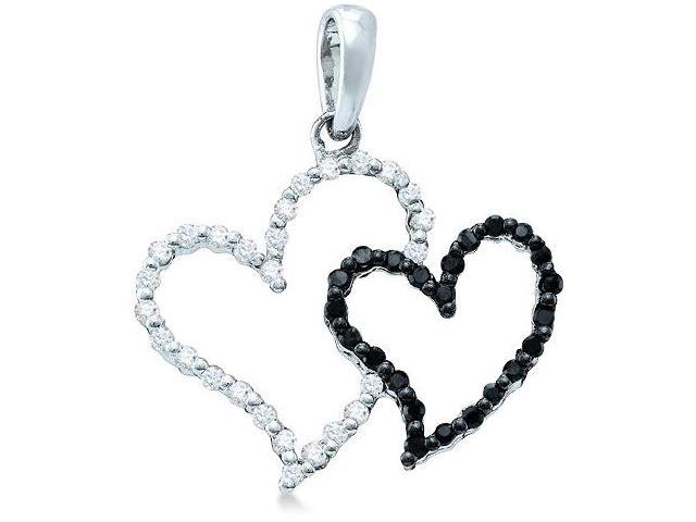 10k White Gold Black and White Diamond Round Cut 2 Two Heart Shape Love Pendant - 20mm Width * 21mm Height (1/6 cttw, H Color, I1 Clarity)