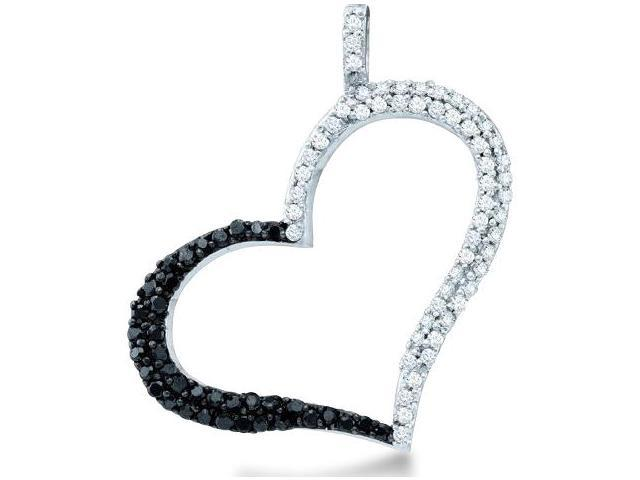 10k White Gold Black and White Diamond Round Cut Heart Shape Love Pendant - 24mm Width * 22mm Height (1/3 cttw, H Color, I1 Clarity)