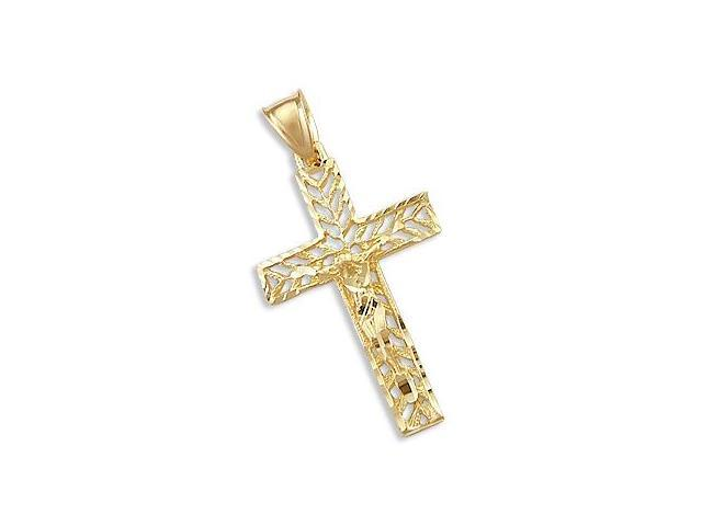 Solid 14k Yellow Gold Cross Crucifix New Charm Pendant (Height = 1.5