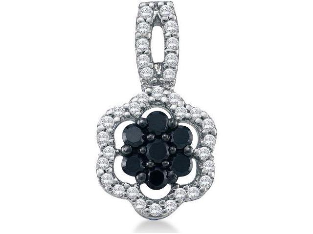 10k White Gold Round Cut Black and White Diamond Flower Shape Cluster Pendant (1/3 cttw, H Color, I1 Clarity)