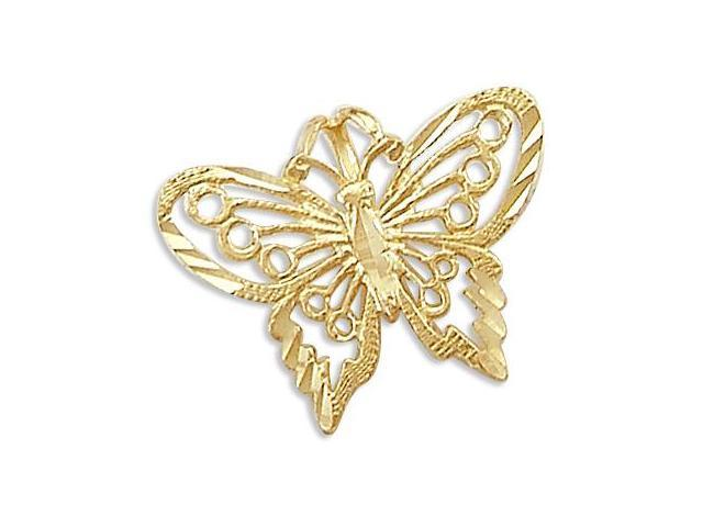 14k Yellow Gold Pretty Butterfly Charm Pendant New (Height = 1/2