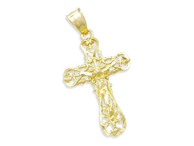 14K YELLOW GOLD JESUS CROSS CRUCIFIX CHARM PENDANT (Height = 1.5