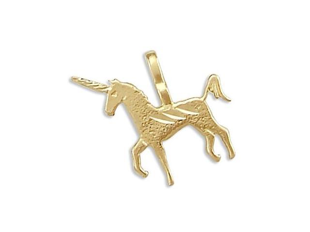 14k Small Yellow Gold Unicorn Horse Charm Pendant New (Height = 1/2