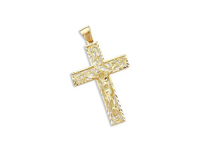 Solid 14k Yellow Gold Cross Crucifix New Large Pendant (Height = 2.5