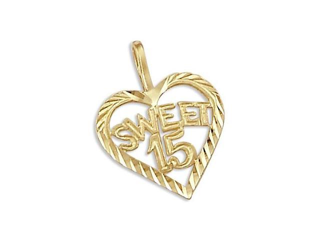 14k Yellow Gold Sweet 15 Birthday Heart Pendant Charm (Height = 3/4