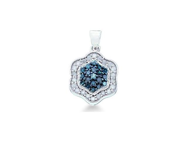 10k White Gold Blue and White Round Diamond Pendant - 12mm Width * 20mm Height (1/2 cttw, H Color, I1 Clarity)