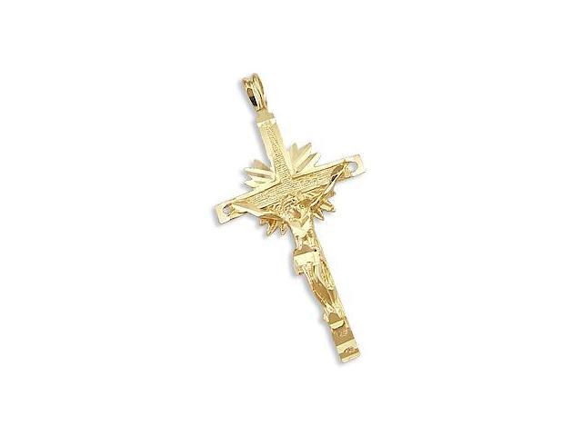 Solid 14k Yellow Gold Crucifix Cross Charm Pendant New (Height = 1.5