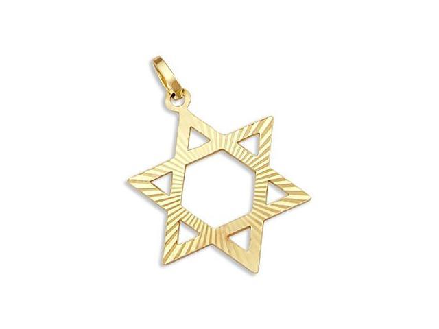 14k Yellow Gold Large Star of David Charm Pendant New (Height = 1.25