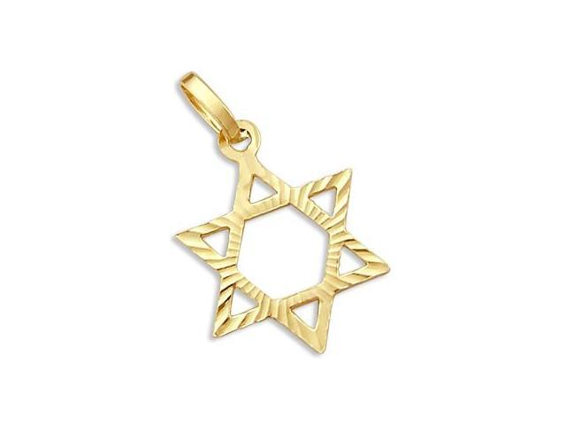 Solid 14k Yellow Gold Star of David Charm Pendant New (Height = 1