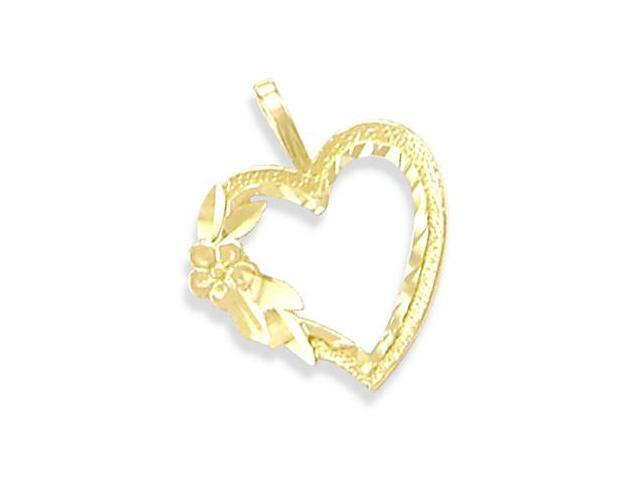 14K YELLOW GOLD HEART FLOWER ROSE CHARM PENDANT ELEGANT (Height = 3/4
