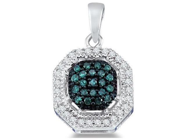 10k White Gold Blue and White Round Diamond Pendant (1/5 cttw, H Color, I1 Clarity)