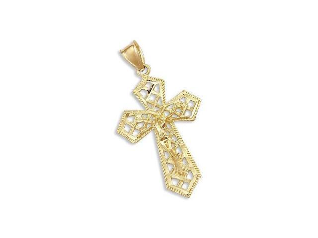 Solid 14k Yellow Gold Cross Crucifix Charm Pendant New (Height = 1.5