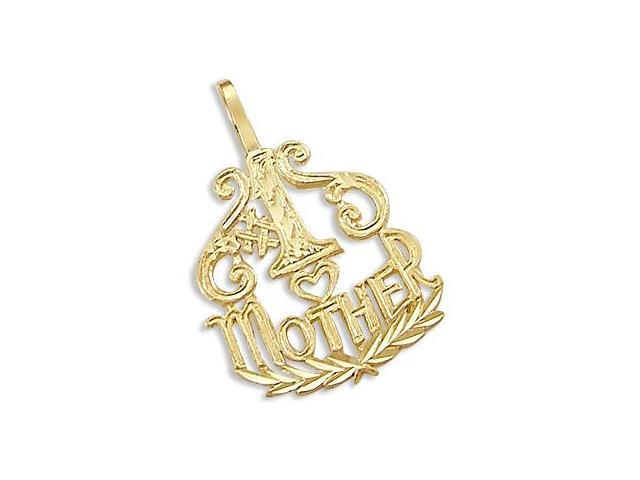 14k Yellow Gold #1 Mom Mother Heart Love Charm Pendant (Height = 1