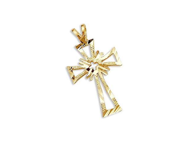Solid 14k Yellow Gold Cross Crucifix Charm Pendant New (Height = 1.25