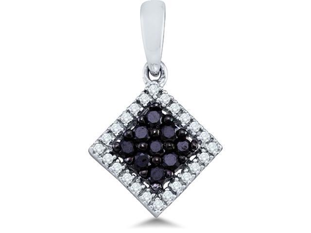 10k White Gold Black and White Round Diamond Pendant (1/4 cttw, H Color, I1 Clarity)