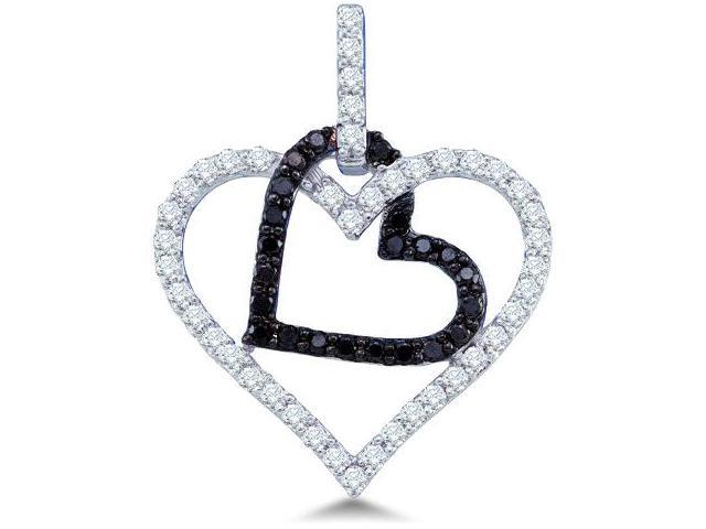 10k White Gold Black and White Diamond Round Cut 2 Two Heart Shape Love Pendant (1/2 cttw, H Color, I1 Clarity)