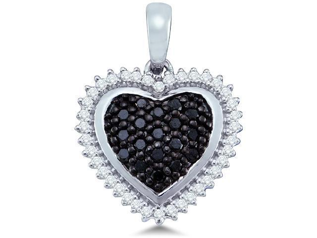 10k White Gold Black and White Diamond Round Cut Heart Shape Love Puff Pendant (1/3 cttw, H Color, I1 Clarity)