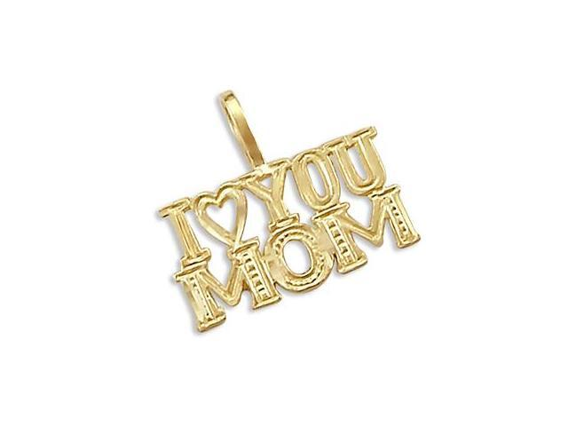 14k Yellow Gold I Love You Mom Mother Charm Pendant New (Height = 1/2