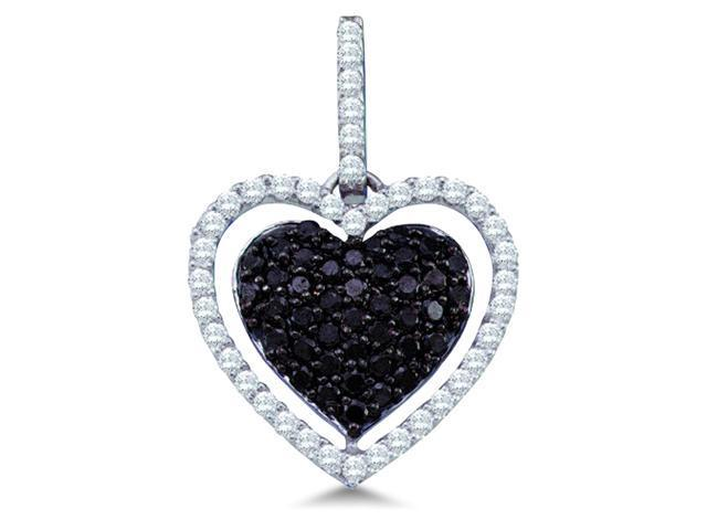 10k White Gold Black and White Diamond Round Cut Heart Shape Love Puff Pendant (4/5 cttw, H Color, I1 Clarity)