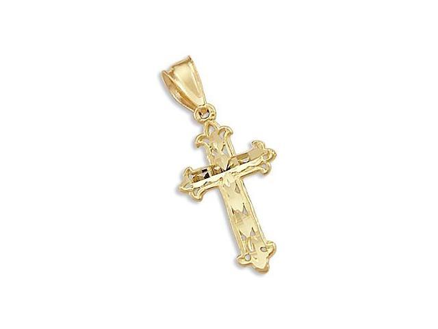 Solid 14k Yellow Gold Cross Crucifix Charm Pendant New (Height = 1