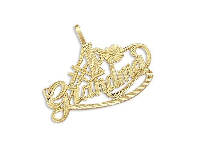 14k Yellow Gold #1 Grandma Mother Love Charm Pendant (Height = 3/4