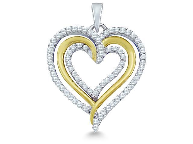 10k Yellow and White 2 Two Tone Gold Round Cut Diamond Heart Shape Love Pendant (2/5 cttw, H Color, I1 Clarity)
